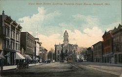 West Main Street, Looking Towards Court House Postcard