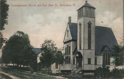 Congregational Church and East Main St. Postcard