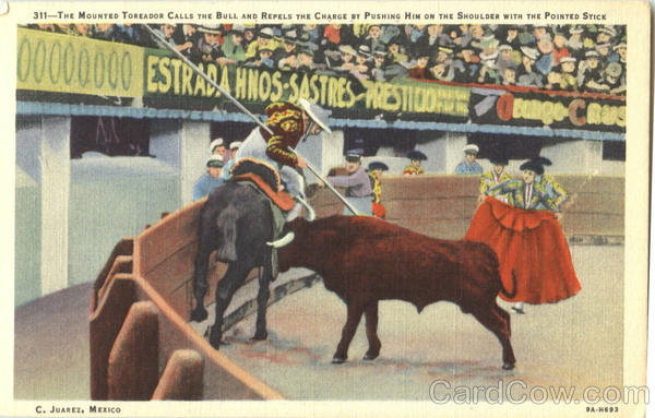 The Mounted Toreador Calls The Bull And Repels Ciudad Juarez Mexico