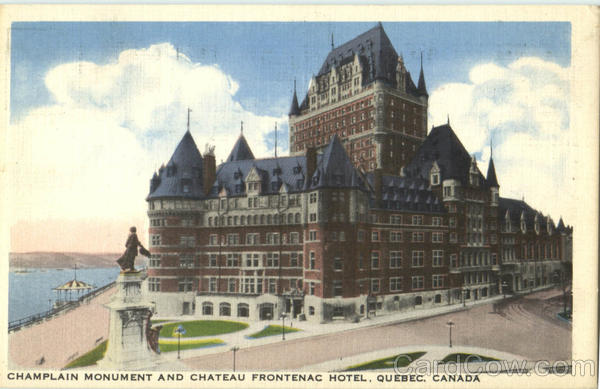 Champlain Monument And Chateau Frontenac Hotel Canada