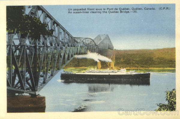 An Ocean-Liner Clearing The Quebec Bridge Canada