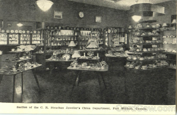 Section Of The C.R. Strachan Jeweller's China Department Fort William Canada