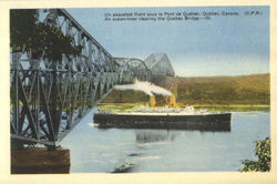 An Ocean-Liner Clearing The Quebec Bridge Postcard