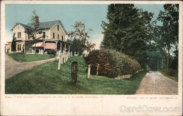 The Maples, Residence of Mrs. J.C.R. Dorr Rutland Vermont