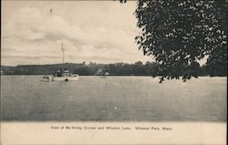 View of McKinley Cruiser and Whalom Lake, Whalom Park Postcard