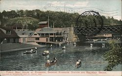 Public Boat House at Riverside, Showing Riverside Station and Railroad Bridge