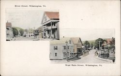 River and West Main Streets Postcard