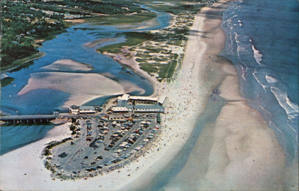 Aerial view of beach area and Ogunquit River Maine