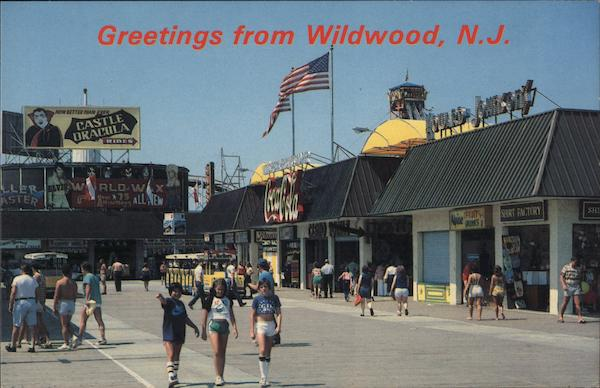Taking a mornign stroll on the Wildwood Boardwalk - Greetings New Jersey