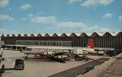 Minneapolis - St. Paul International Airport with Northwest Airlines plane. Postcard