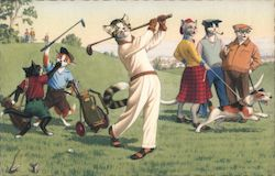 Cats in Clothing Playing Golf