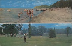 Golf Course and Beach Swimming on Lake Erie Postcard