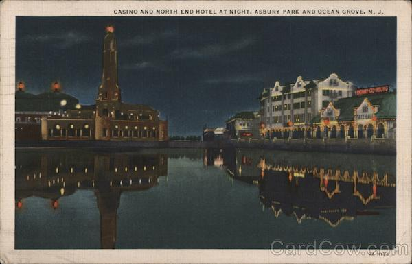 Casino and North End Hotel at Night, Asbury Park and Ocean Grove, N.J. New Jersey