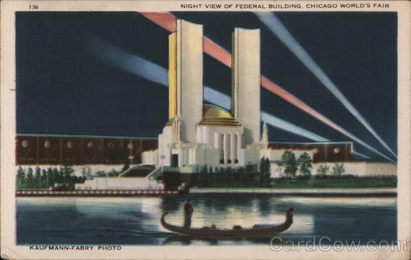 Night View of Federal Building, Chicago's World's Fair Illinois