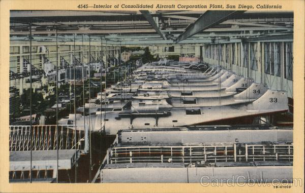 4545-- Interior of Consolidated Aircraft Corporation Plant San Diego California