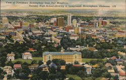 View of Downtown Birmingham from Red Mountain - Ramsey High School showing in foreground