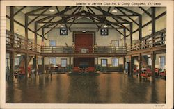 Interior of Service Club No. 2, Camp Campbell Postcard