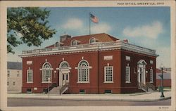 Post Office Greenville, OH Postcard