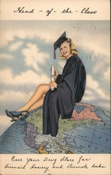 Head of the Class - Graduate Sitting on Globe