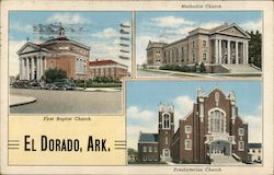 Methodist, First Baptist, Presbyterian Churches Postcard