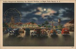 Folly's Playground adjoining the Atlantic Pavilion at Night Postcard