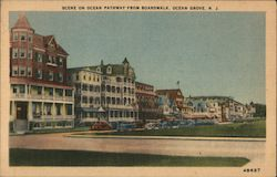 Scene on Ocean Pathway from Boardwalk Postcard