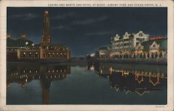 Casino and North End Hotel at Night, Asbury Park and Ocean Grove, N.J. Postcard