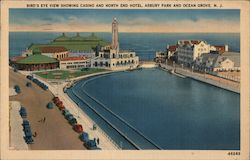 Bird's Eye View showing Casino and North End HOtel - Asbury Park Postcard