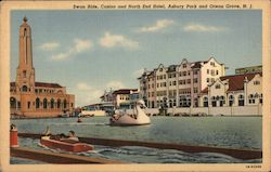 Swan Ride, Casino and North End Hotel - Asbury Park Postcard