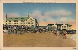 North End Hotel from Beach Postcard
