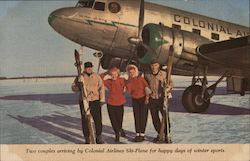 Two Couples Arriving by Colonial Airlines Ski Plane For Happy Days of Winter Sport