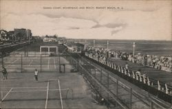 Tennis Court, Boardwalk and Beach Postcard