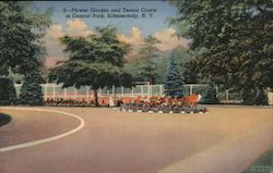 Flower Garden and Tennis Courts in Central Park Postcard