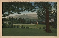 A Tennis Match on the Courts at the Piedmont Hotel Postcard