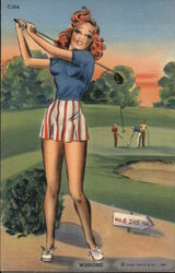 """Winsome"" Redhead in a Blue Sweater, Golf Course"