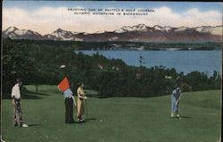 Golfing with a View of the Olympic Mountains Postcard