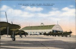 P-38's on Ramp at Army Air Base, Transient Aircraft Hangar
