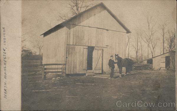 A Man with a Horse in Front of a Barn North Manchester Indiana
