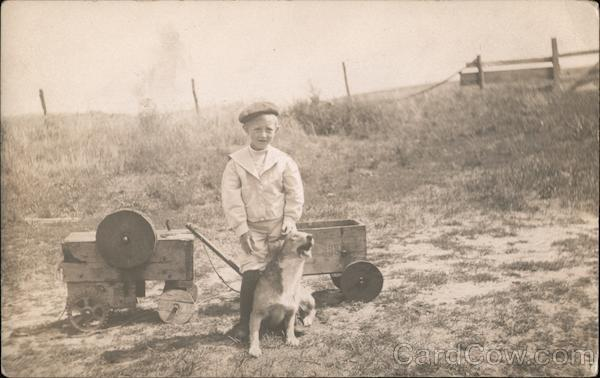 Boy with His Dog in Field with Wagon, Toys Children
