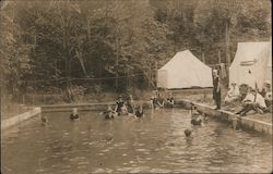 Girls Swimming in Pool at Camp