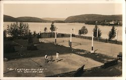Au Chateau-du-Lac Tennis Courts Postcard