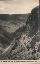 "9. ""Old King"" Cliff, near ""The Balsams,"" and Highway through Dixville Notch, N.H."
