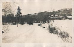 Snowy Road Scene with House, Trees, and Hills Behind