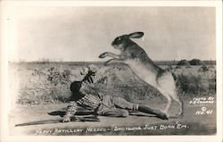 Jackalope Attacks Man on Lonely Road Postcard