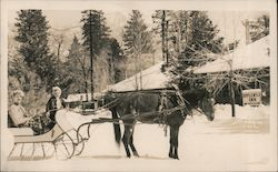 Man and a Girl in Horse Drawn Sleigh, Idyllwild Inn