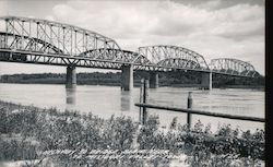 Highway to Bridge to Missouri Valley Postcard