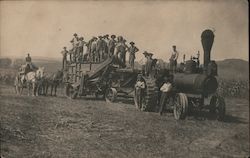 Workers on Farming Steam Tractor and Thresher