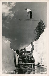 Up and Over! Skier Jumping Over Car, Pinup