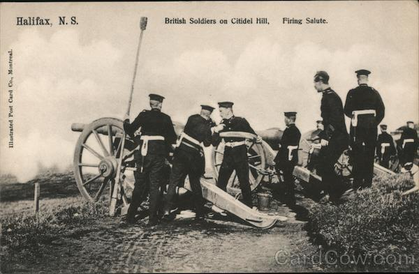 British Soldiers on Citadel Hill Firing Salute Halifax Nova Scotia Canada