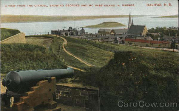 A View From the Citadel, Showing Georges and McNabs Island in Harbor Halifax Nova Scotia Canada